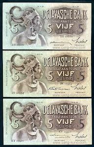 Wayang 5 gulden dengan 3 variasi tanda tangan