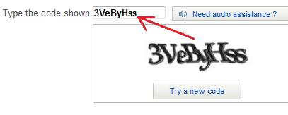 نوشته داخل باکس را روبروی Type the code shown بنویسید