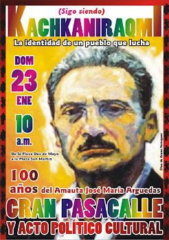23 DE ENERO: ACTO CULTURAL POR EL CENTENARIO DE JOSÉ MARÍA ARGUEDAS