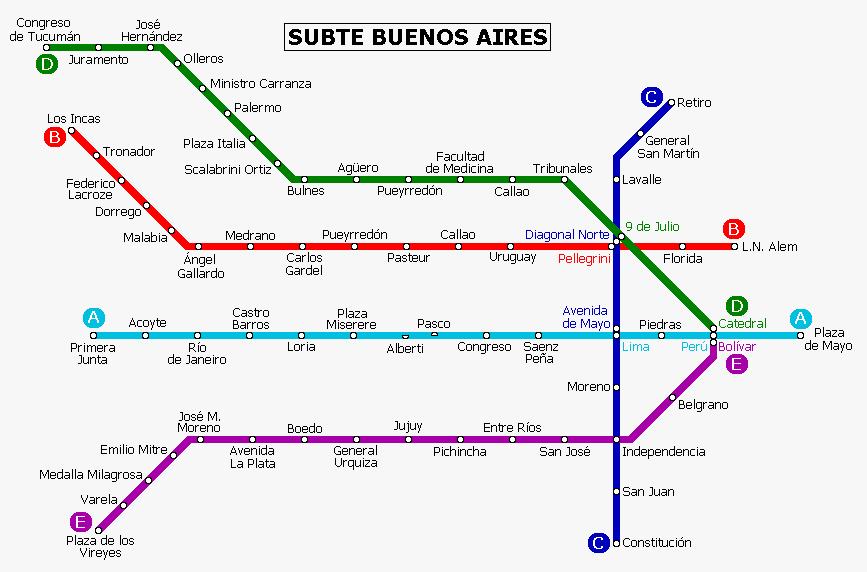Argentina Metro Map - Argentina subway map