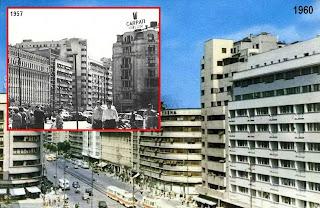 Zona blocului Scala in preajma anului 1960. Se vad urmele cutremurului din 1940