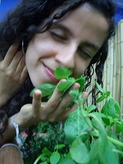 Sara cheirando as folhas do manjericão