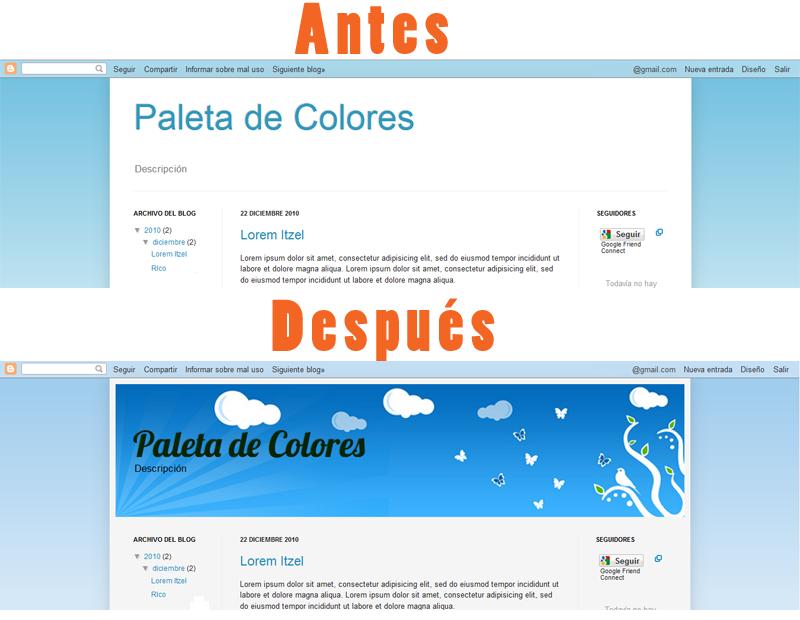 Blog con y sin imagen en la cabecera