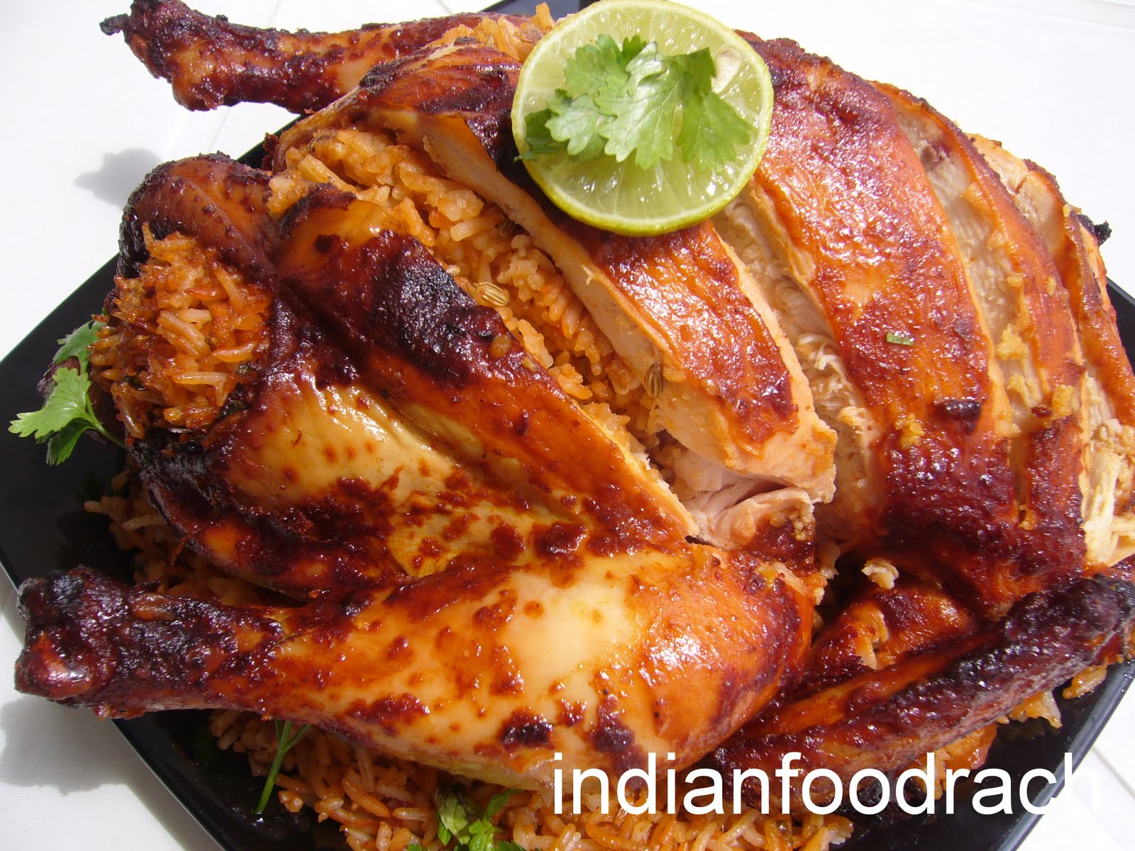 INDIAN FOOD: Roasted chicken stuffed with Khushka/kuska/khusqa ...