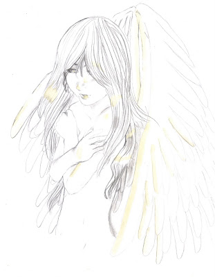 anime drawings of angels. Pencil drawing of an Angel.