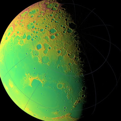 LOLA topographic map of the moon's northern hemisphere