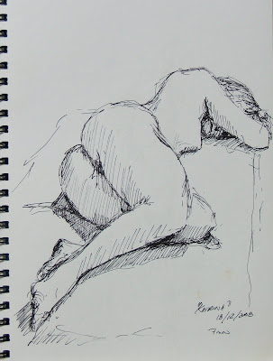 sleeping nude - pen sketch by Stephen SCott