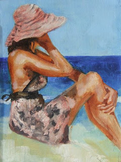 Floppy hat and sun dress - oil painting by Stephen Scott