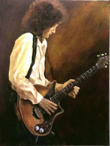 The Rocker - Oil painting of Brain May by Cape Town artist Stephen Scott