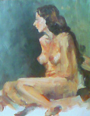 Stephen Scott - Seated nude - oil on board