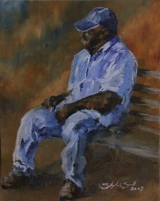 Waiting on the station - Oil painting by South African artist Stephen Scott