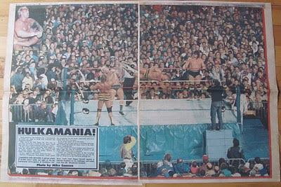 Toronto Sun color spread of the WWF at Exhibition Stadium in August 1986.