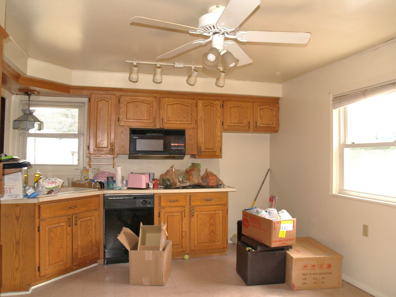 Ceiling Fan with Track Lighting in Kitchen