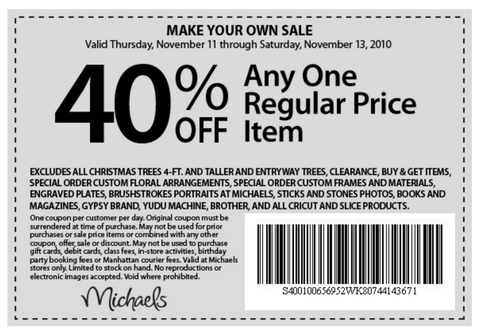 Printable Michaels Coupon 50% Off 2014