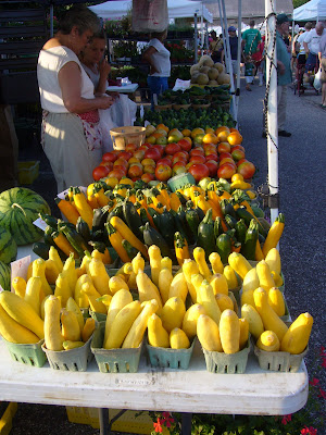 Squash, zucchini, watermelon, local food at farmers market