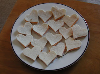 heart-shaped Valentine's Day snacks on plate