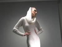 beyaz çok şık örgü elbise