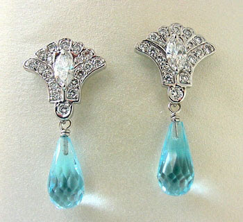 White Gold Topaz Earrings