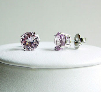 White Gold Kunzite Stud Earrings