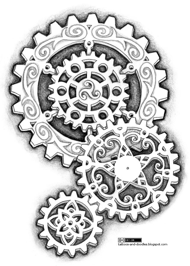 Steampunk Gears Tattoo Design