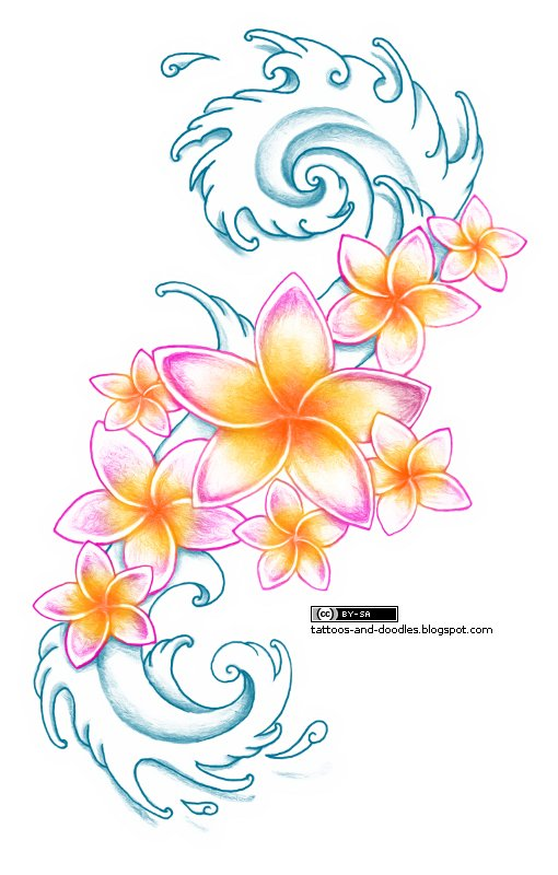Tattoos And Doodles Plumeria Flowers Waves