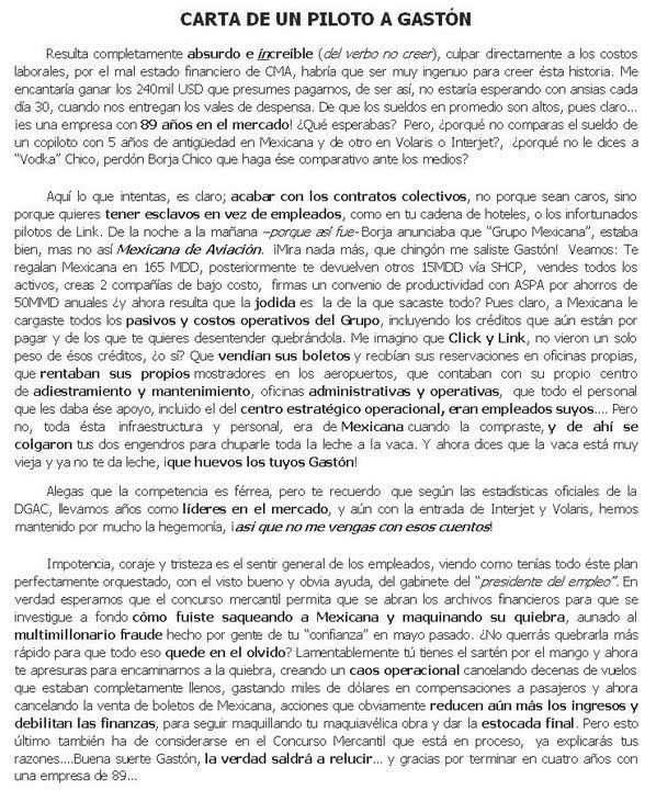 política, ideas: Mexicana: ROBOI frustrado. Carta de un piloto a ...