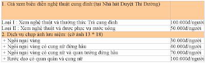 Giá vé các điểm thăm quan tại Huế