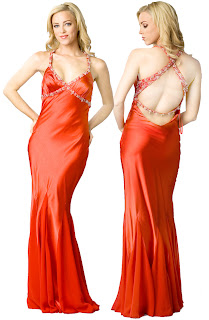 Red prom dresses -  Elegant Empire Embedded Halter Evening Dress