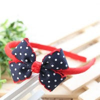blue pokka dot hairband -- HA145-RM16 per piece