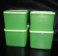 TUPPERWARE APPLE GREEN MEDIUM SQUARE ROUND (4units) 880ML RM50