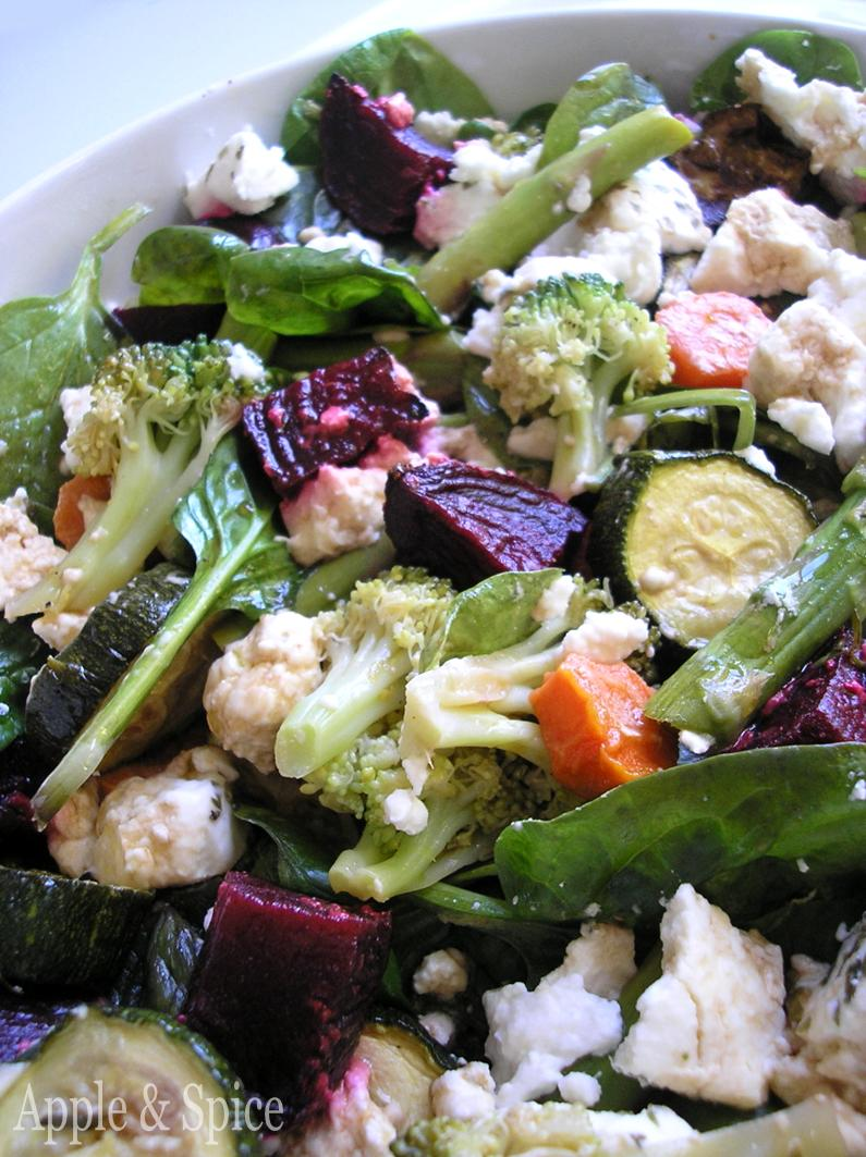 ... & Spice: Green Vegetable Salad with Roasted Beetroot & Goats Cheese