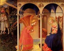 Imagen de un retablo renacentista que recoge la escena de la Anunciación