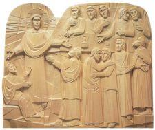 Retablo en el que se muestra la escena de Jesús resucitado entre sus discípulos