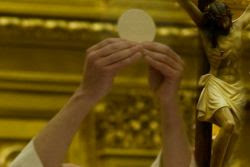 Primer plano de las manos del sacerdote sosteniendo la hostia en el momento de la consagracion