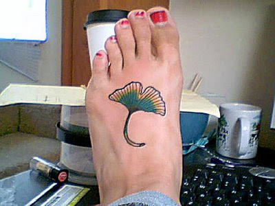 Krystal has a Ginkgo leaf tattoo on her foot. Read more about it here.