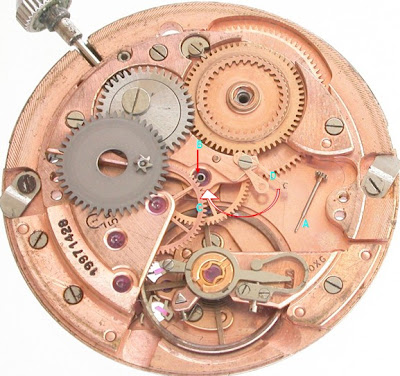 Omega movement dis-assembled