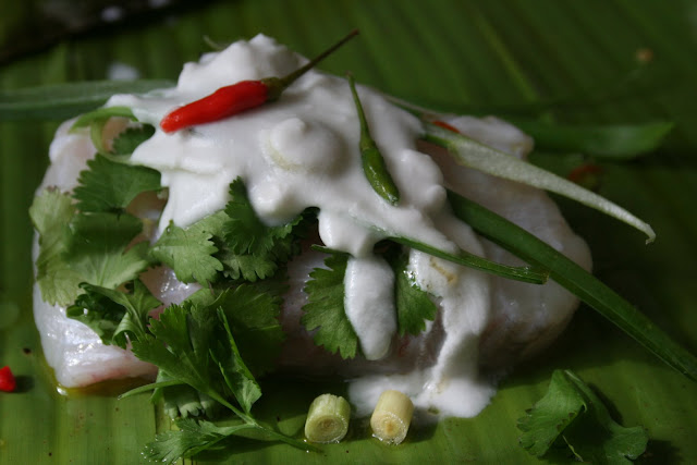 monkfish wrapped in banana leaves, with coconut/chilli/lemongrass