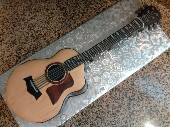 Pin acoustic guitar cake template cake on pinterest for Guitar templates for cakes