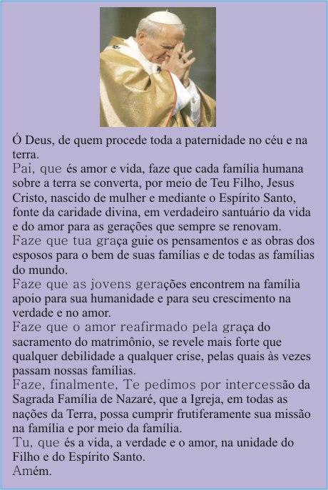 Oração do Papa João Paulo II pela Família