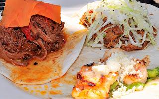 brisket, pork and shrimp tacos