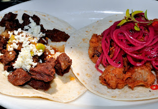 Steak and chicken heart tacos