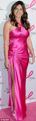 hot Liz Hurley Shows off Her Curves In A Hot Pink Dress