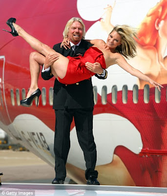 Red Hot Kate Moss Celebrates Virgin Atlantic's 25th Birthday With Branson