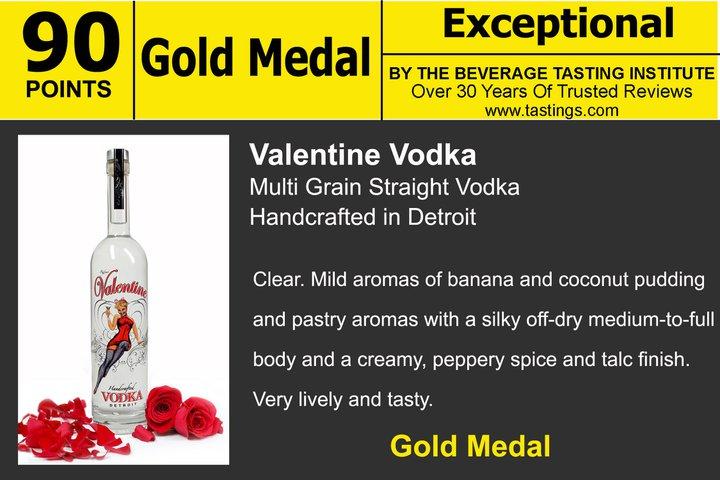 valentine vodka awarded the gold medal by the beverage tasting institute