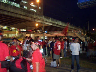 Vietnam fans gather outside Rajamangala Stadium