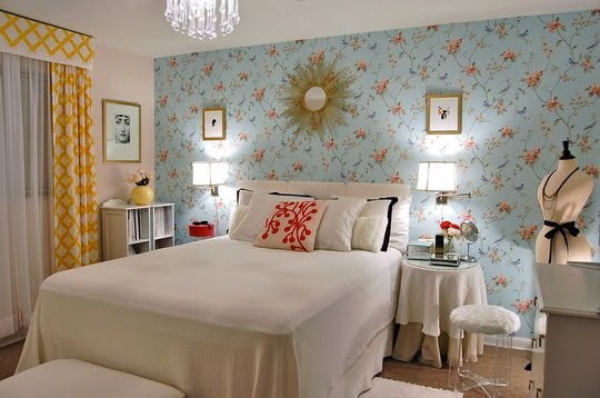 Left coast luxe apartment therapy 39 s small cool contest 2010 for Blue wallpaper designs for bedroom