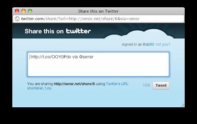 Twitter Popup on Sensr.net