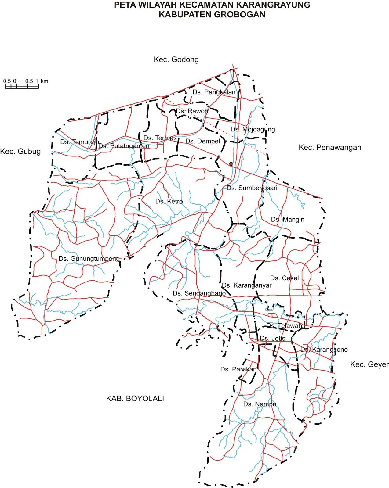 peta, kecamatan, karangrayung, grobogan, camat