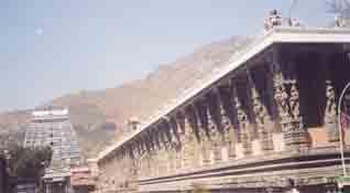 Tousand pillar hall and Arunachala Gopuram