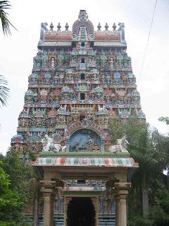 Thiruvanaikoil Tower with Sculptures